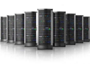 Row of network servers in data center isolated on white background with reflection effect
